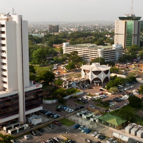 Aerial view of business district